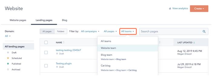 Attribuer accès contenus par équipe hubspot cms 2