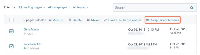 Attribuer accès contenus par équipe hubspot cms