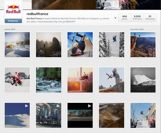 Brand Content : émotions fortes garanties avec le compte Instagram de Redbull