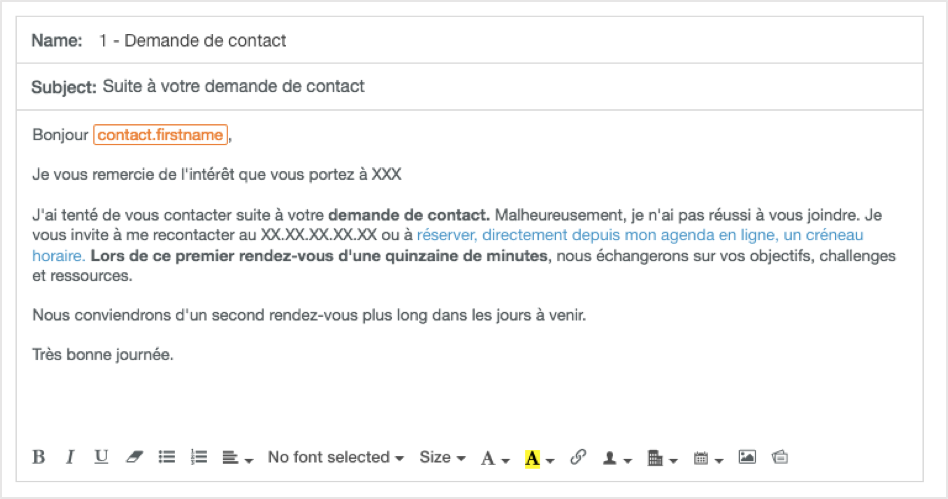 Template email Hubspot Sales