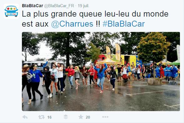 Inbound Marketing : BlablaCar communique sur ses événements IRL via Twitter