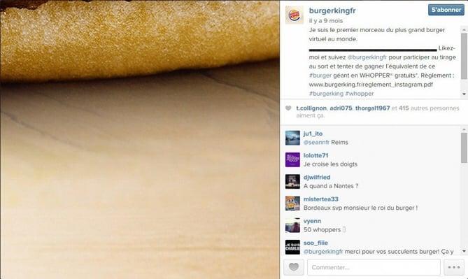 Concours Burger King sur Instagram