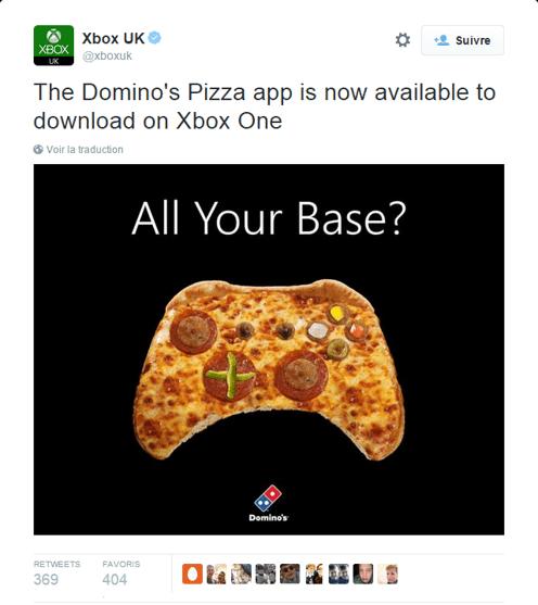 Domino's permet de commander des pizzas via Xbox
