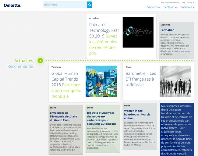Content Marketing : comment Deloitte dirige les visiteurs dès la page d'accueil