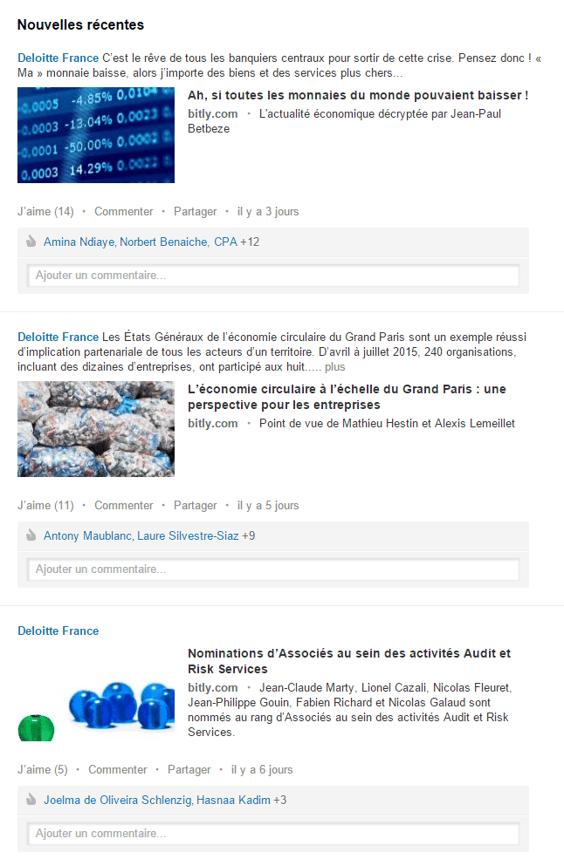 Content Marketing : Deloitte diffuse ses articles de blog sur sa page Linkedin