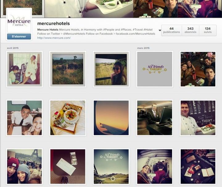 Le compte Instagram de Mercure, en anglais