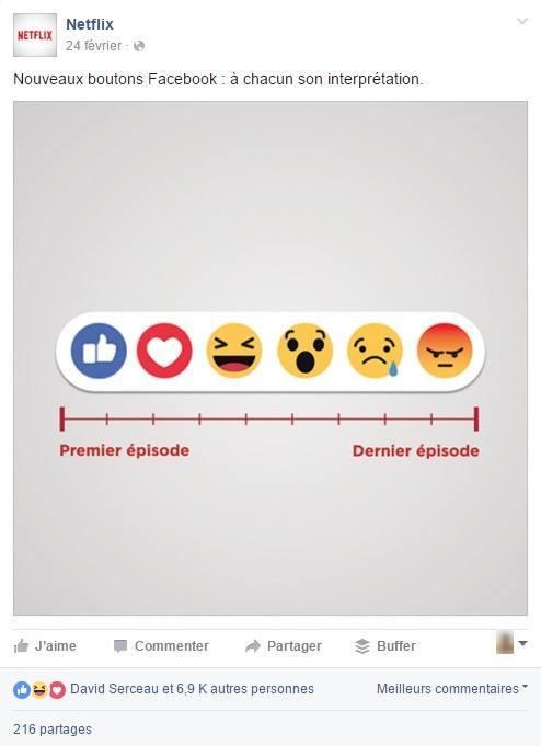 Netflix humanise les réactions Facebook