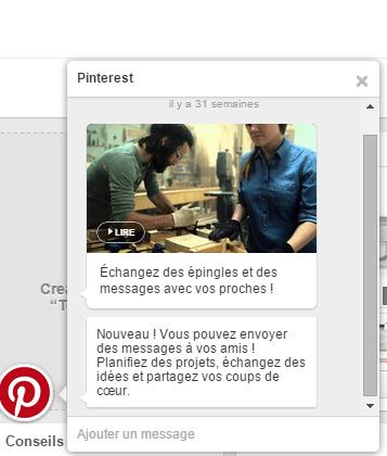 Pinterest propose une messagerie pour parler en privé avec ses clients