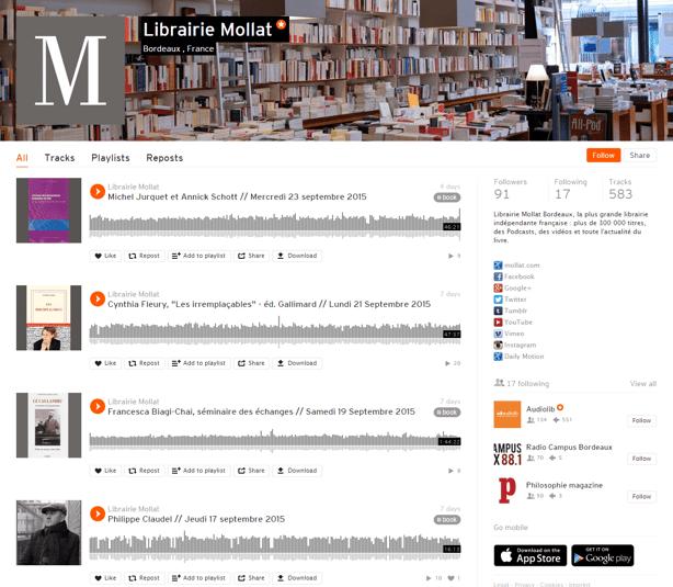 Inbound Marketing : pour diffuser ses contenus audio, la librairie Mollat utilise Soundcloud