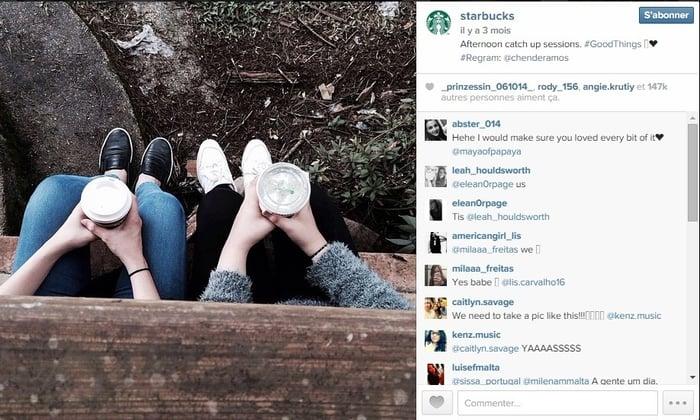 Starbucks partage les images de ses abonnés