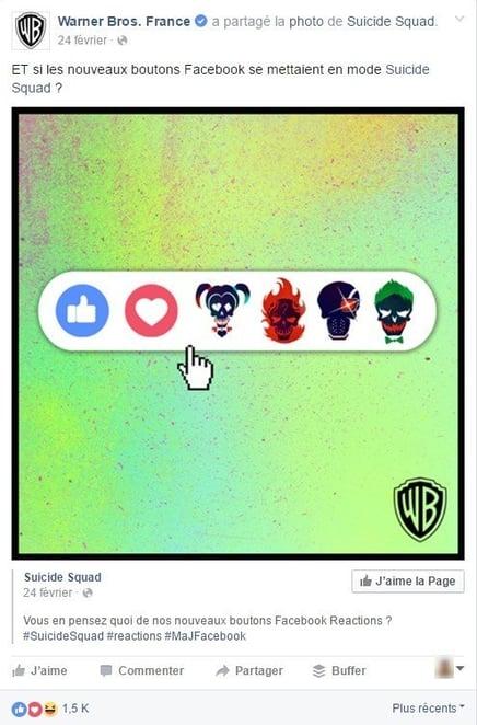 Warner Bros fait du teasing avec les réactions Facebook
