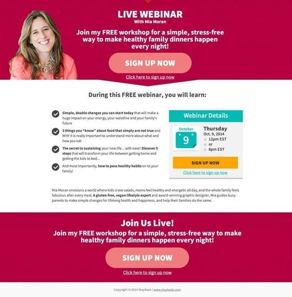 Exemple d'une landing page réussie pour promouvoir son webinaire