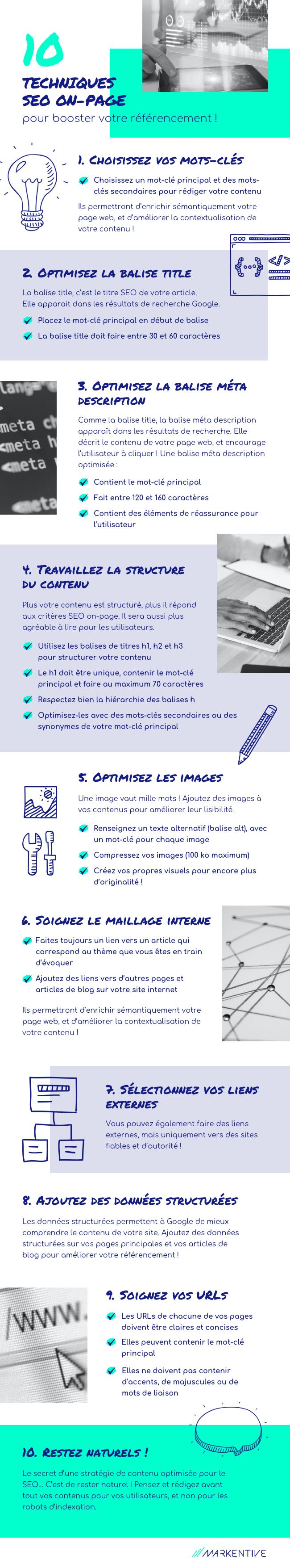 Infographie  10 techniques SEO on page pour booster son référencement