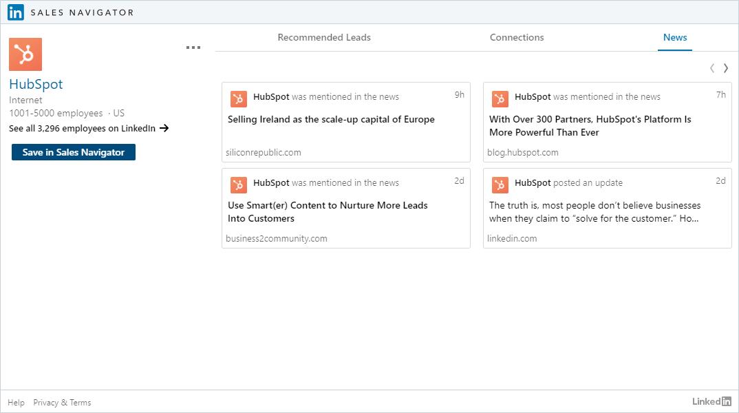 LinkedIn Sales Navigator Hubspot 2