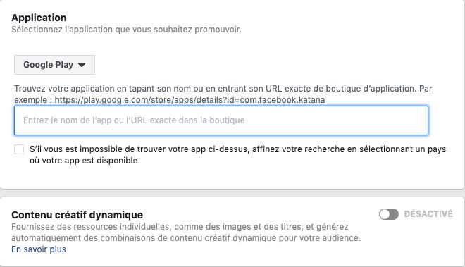 Pousser le téléchargement d'une application facebook