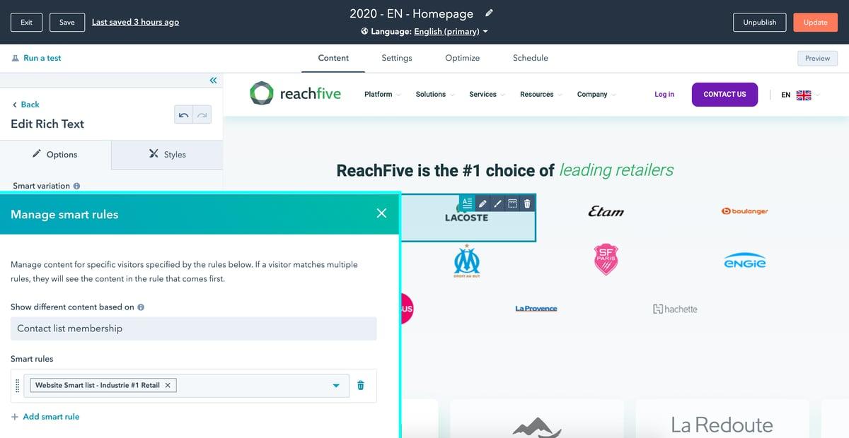 Reachfive - Smart content