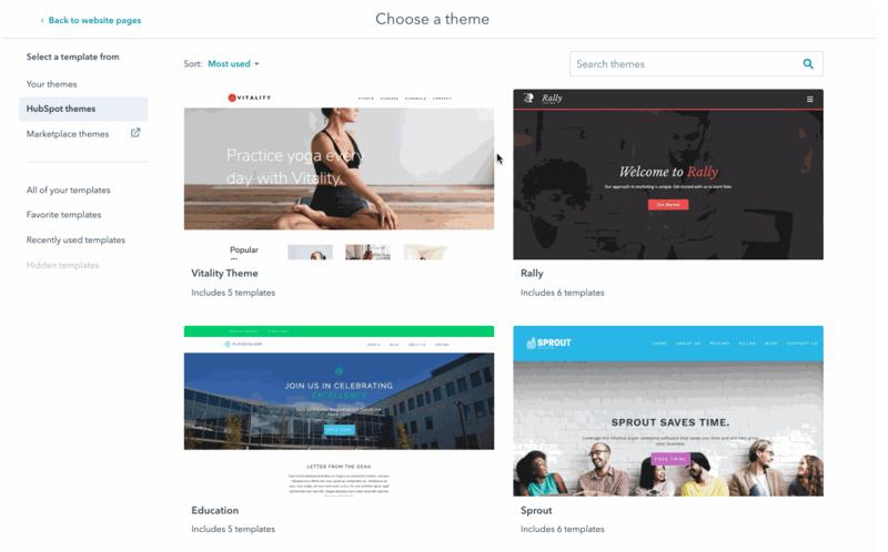 Thèmes de site web hubspot